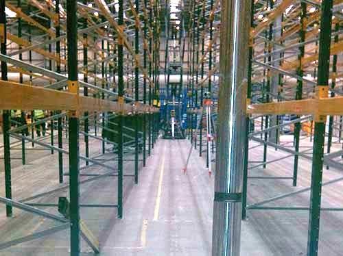 very narrow aisle grinding at Amazon